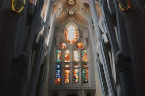 stained glass window of the Sagrada Familia in Barcelona, Spain