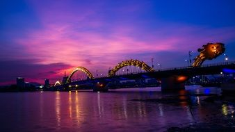 illuminated dragon bridge at night, vietnam, Da Nang