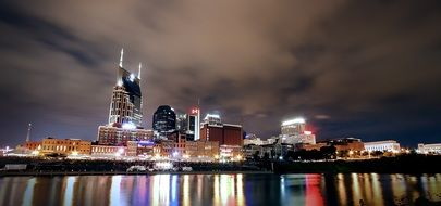 colorful night cityscape, usa, Tennessee, nashville
