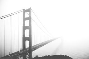 golden gate bridge in a fog in san francisco