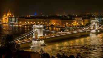 illuminated chain bridge at night cityscape, hungary, budapest