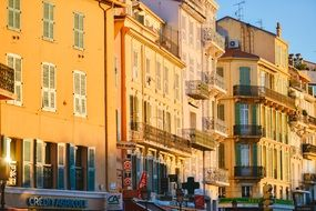 sunset facades houses cannes france