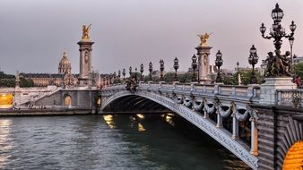 Pont Alexandre III, bridge across seine river at evening, france, paris