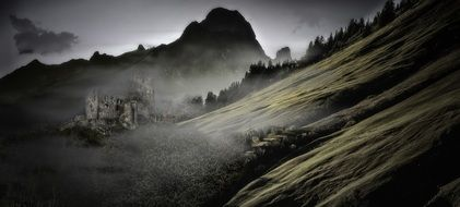 mountain fog dawn nature mist horrific mood