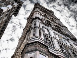 belltower of Basilica Santa Maria at cloudy sky, italy, florence