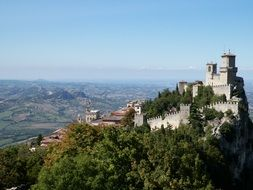 Guaita, first from three towers of san marino on Monte Titano mountain, europe