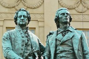 goethe and schiller, fragment of monument, germany, weimar