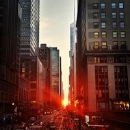 red sunset beams in city, usa, manhattan, nyc