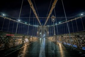 suspension bridge at night