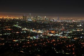 aerial view of illuminated city at night, usa, California, los Angeles