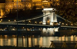 Illuminated bridge at night in Budapest