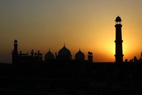 lahore fort pakistan sunset view