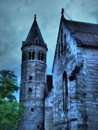belltower of haunted castle at cloudy sky, germany, baden württemberg, lorch