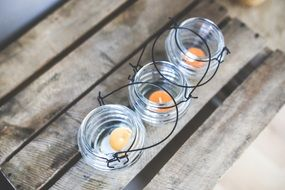 Small glass candleholders