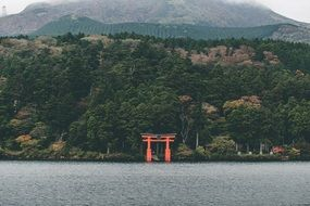 red gates of buddhist temple on coast at forested mountain, japan, kyoto