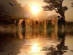 fantasy collage with stone circle on water at sunset