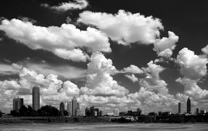 atlanta cityscape under beautiful clouds, black and white, usa, georgia