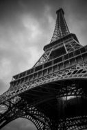 low angle view of eiffel tower, black and white, france, paris