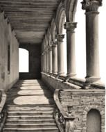 cutout of ancient portico with columns, arches and staircase