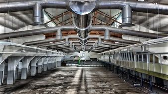 ventilation tubes on ceiling of factory building