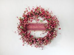 red wreath on wall, interior decoration