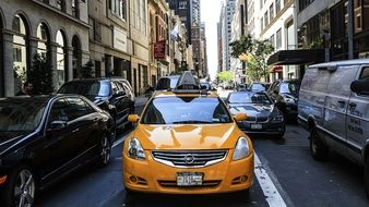 yellow taxi car in street traffic, usa, manhattan, new york city