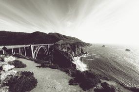 Bixby Creek Bridge at ocean, usa, california