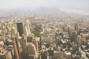 Aerial view of skyscrapers, high-rises, towers, Manhattan, New York City