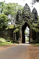 ancient stone carved gates of angkor wat temple, cambodia, siem reap