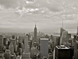 empire state building, manhattan, new york city, black and white photo