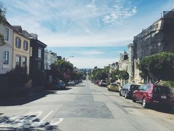 old apartments on street at sunny day, usa, california, san francisco
