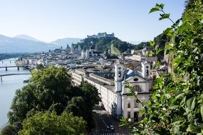 top view of old town with landmarks, austria, salzburg