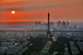 amazing sunset paris france french eiffel tower