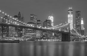 new york city downtown lights at night, black and white, usa, manhattan
