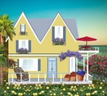 painted yellow house with a blooming garden