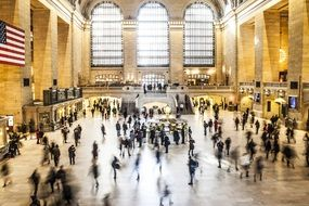 people in grand central station, usa, new york city