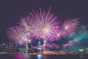 purple fireworks above night city at water