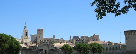 medieval gothic Palais des Papes at summer, france, avignon