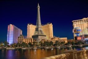 las vegas night view with landmarks, usa, nevada