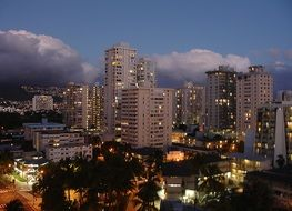 Big Hawaii city in the evening