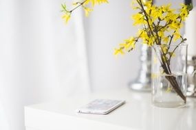 iphone 6 plus apple yellow flowers water glass white table
