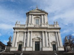 main facade of St. Ursus cathedral at sky, Switzerland, Solothurn