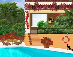 swimming pool at house, decorated with flower garlands, illustration