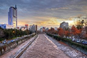 sunset autumn river mapocho