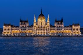 parliament building at dusk, hungary, budapest