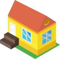 abstract colorful cottage, icon