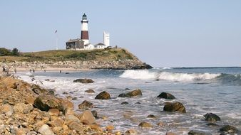 lighthouse coast ocean new england