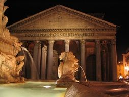 night view of fountain at pantheon, italy, rome