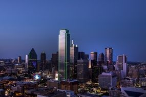 dallas skyline dusk cityscape