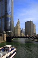 view of city from chicago river, boat cruise, usa, illinois